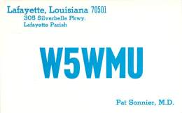 Amateur Radio QSL- W5WMU - Lafayette, LA -USA- 1968 - 2 Scans - Radio Amateur