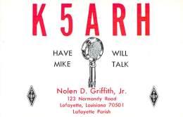 Amateur Radio QSL- K5ARH - Lafayette, LA -USA- 1969 - 2 Scans - Radio Amateur