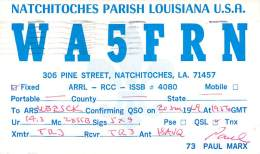 Amateur Radio QSL- WA5FRN - Natchitoches, LA -USA- 1969 - 2 Scans - Radio Amateur