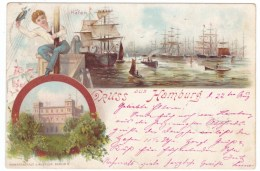 Gruss Aus Hamburg Germany, Hafen Harbor Scene, Ships C1890s Vintage Postcard - Other