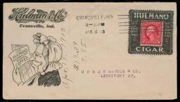USA. 1913. Evansville / IND - KY. Tie Advertising Fkd Env / Cigar. VF. - Verenigde Staten
