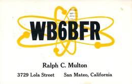 Amateur Radio QSL- WB6BFR - San Mateo, CA -USA- 1967 - 2 Scans - Radio Amateur