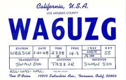Amateur Radio QSL- WA6UZG - Torrance, CA -USA- 1968 - 2 Scans - Radio Amateur