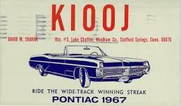 Amateur Radio QSL - K1OOJ - Stafford Springs, CT -USA- 1966 - 2 Scans - Radio Amateur