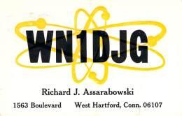 Amateur Radio QSL - WN1DJG - West Hartford, CT - USA - 1965 - 2 Scans - Radio Amateur
