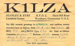 Amateur Radio QSL - K1LZA - Woodbury, CT -USA- 1967 - 2 Scans - Radio Amateur