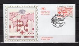 """MONACO 1999 : Enveloppe 1er Jour En Soie """" CROIX-ROUGE 1999 : 50 ANS CONVENT° DE GENEVE """" N° YT 2188. Parfait état. FDC - Rode Kruis"""