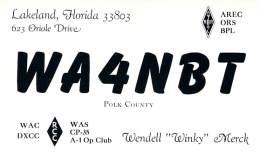 Amateur Radio QSL - WA4NBT - Lakeland, FL -USA- 1967 - 2 Scans - Radio Amateur