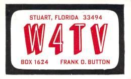 Amateur Radio QSL - W4TV - Stuart, FL -USA- 1967 - 2 Scans - Radio Amateur