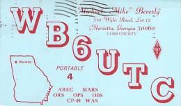 Amateur Radio QSL - WB6UTC/4 - Marietta, GA -USA- 1969 - 2 Scans - Radio Amateur