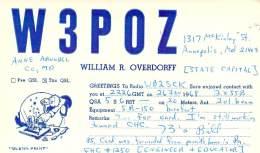 Amateur Radio QSL - W3POZ - Annapolis, MD -USA- 1968 - 2 Scans - Radio Amateur