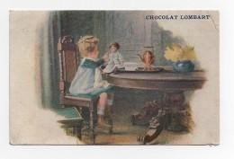Carte Postale Chocolat Lombart Enfant Fille Fillette Poupée Jeu Repas Tasse - Werbepostkarten