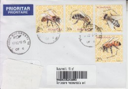 ROMANIA : HONEYBEES Imperforated Set On Cover Circulated To ARMENIA - Envoi Enregistre! Registered Shipping! - Honeybees