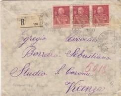 PIAZZOLA SUL BRENTA Padova 1926 - RACCOMANDATA / STRISCIA TRE ESEMPLARI GIUBILEO CENT. 60 Dent. 11 -  SX343 - 1900-44 Vittorio Emanuele III