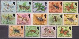 FALKLAND  INSETTI FARFALLE INSECTS BUTTERFLIES 404/417 MNH - Farfalle