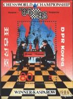 Nord-Corée Bloc 212 (complète.Edition.) Oblitéré 1986 échecs-WM 1984/85 - Corea Del Nord
