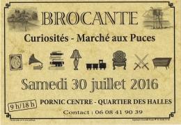 """Affichette De L´annonce """"Brocante""""  PORNIC - Ville Haute Quartier Des Halles - Autres Collections"""