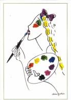 ILLUSTRATEUR ALAIN  GAUTHIER  FEMME SE PEIGNANT LES LEVRES A LA GOUACHE - Illustrators & Photographers