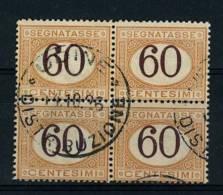 I. REGNO - SEGNATASSE 60 CENT. N° 33 QUARTINA USATA - UDINE DISTRIBUZIONE - Segnatasse