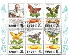 Nord-Corée 3191-3196 Feuille Miniature (complète.Edition.) Oblitéré 1991 élevage Des Vers à Soie - Corée Du Nord