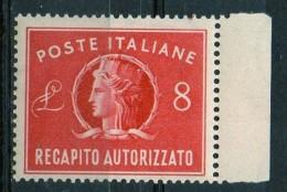PIA - ITA - Specializzazione : 1947 : Francobollo Per Recapito Autorizzato £ 8 - (SAS 9  - CAR 2 ) - 6. 1946-.. Repubblica