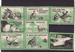 Hungary Boites D'allumettes-etiquettes, Match Labels Hungary 1964, Lievre Lapin Hare Faisan Pardrix Biche Doe Hunter - Matchbox Labels