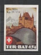 SUIZA 1939 SELLO MILITAR SIN DENTAR CASTILLO TER BAT 174  + KP IV/174 - Châteaux