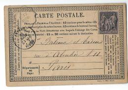 FRANCIA FRANCE PRECUR 10 C 1878 ARPAJON To PARIS - Vorläufer