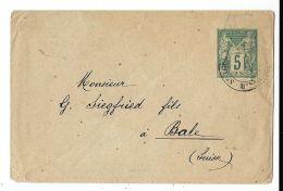 FRANCIA FRANCE 5 C TYPE SAGE 1890 MINI COVER SAINT LOUP To BALE SWITZERLAND - Postal Stamped Stationery