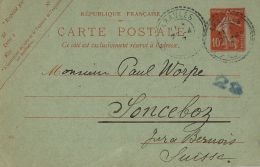 FRANCIA FRANCE 10 C SEMEUSE 1917 ARAULES To SONCEBOZ SWITZERLAND SUISSE - Standard- Und TSC-AK (vor 1995)