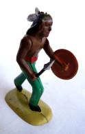Figurine MINIALUX Far West INDIEN BOUCLIER ET LANCE ? 50's Pas Starlux Clairet Lance Cassée - Starlux