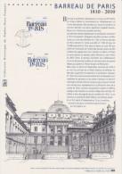 2010 - DOCUMENT PHILATELIQUE OFFICIEL 1er Jour - BARREAU DE PARIS 1810-2010 - FDC