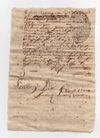 Parchemin Manuscrit Acte Cachet Généralité De Poitiers à Déchiffrer 17ème ? 1feuille Recto Et Verso - Cachets Généralité