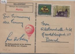 1958 Ballonpost Landungsort Mollis - Circus Knie Ballonpostkarte - Altri Documenti