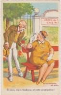 Illustrateur Chaperon    Conversation Homme , Femme , Banc , Jardins Casino   Picard Circulée 1964 - Humour