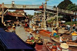 BANGKOK  FLOATING MARKET AND WOODEN BRIDGE       (VIAGGIATA) - Tailandia