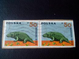 RARE 1966 POLAND POLSKA POLISH GR 50 ANIMAL PREISTORI MASTODONSAURUS RECOMMENDET LETTRE ON PAPER COVER USED SEAL - 1944-.... Republic