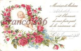 Montage Surréalisme Bébé Baby Sur Son Lit De Roses - Faire Part De Naissance 1910 - Enfants