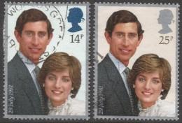 Great Britain. 1981 Royal Wedding.  Used Complete Set SG 1160-1 - 1952-.... (Elizabeth II)