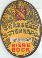 ETIQUETTE DE BIERE . BRASSERIE GUTENBERD . BIERE ROCK . LE PRE SAINT GERVAIS . - Other Collections