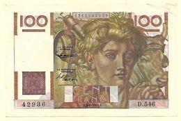 France - 100 Francs Jeune Paysan 4 6 1953 Alphabet D 546 1 Billet Superbe - 1871-1952 Anciens Francs Circulés Au XXème