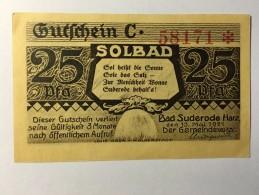 Allemagne Notgeld Bad Suderode 25 Pfennig 1921 NEUF - [ 3] 1918-1933 : Weimar Republic