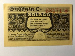 Allemagne Notgeld Bad Suderode 25 Pfennig 1921 NEUF - [ 3] 1918-1933 : République De Weimar