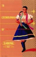To Czechoslovakia By Sabena - Baggage Etiketten