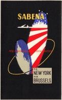 Sabena: To New York Via Brussels - Baggage Etiketten