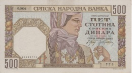 (B0086) SERBIA, 1941. 500 Dinara. P-27b. UNC - Serbie