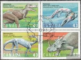 Kanada 1389-1392 Viererblock (kompl.Ausg.) Gestempelt 1993 Prähistorische Tiere - Gebraucht