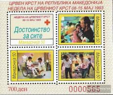 Makedonien Z Miniature Sheet 7A (complete Issue) Zwangszuschlagsmarken Unmounted Mint / Never Hinged 1993 Red Cross - Macedonia