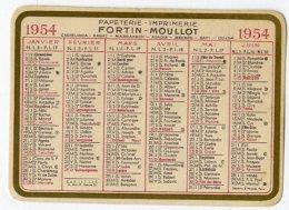 PAPETERIE IMPRIMERIE FORTIN MOULLOT 1954  PETIT CALENDRIER PUBLICITAIRE  MAROC -  CARTONNE - Calendari