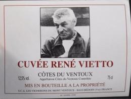 """ETIQUETTE De VIN - """" CÔTES Du VENTOUX """" - Cuvée René VIETTO (Tour De France 1934) - 12,5° - 75cl - Parf. Etat  - - Ciclismo"""